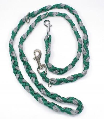 Vodítko pro psa šedo-zelené (dvoubarevné) se dvěma karabinami