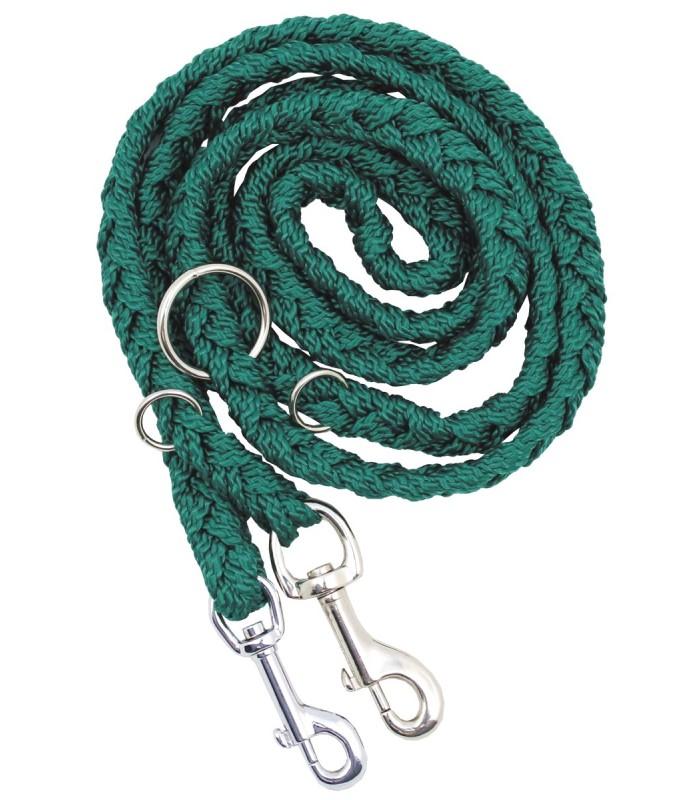 Vodítko pro psa 200 cm zelené má dvě karabiny a 3 kroužky