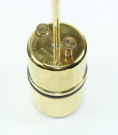 Acetylenová svítilna - zásobník na vodu a karbid vápníku