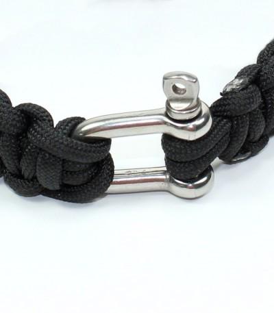Náramek paracord - černá, kov