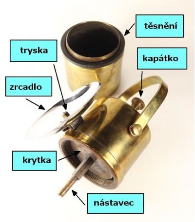karbidová lampa ruční 104C rozložená - náhradní díly, i kapátko