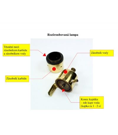 karbidka hrníčková 115C - popis náhradních částí, i tryska