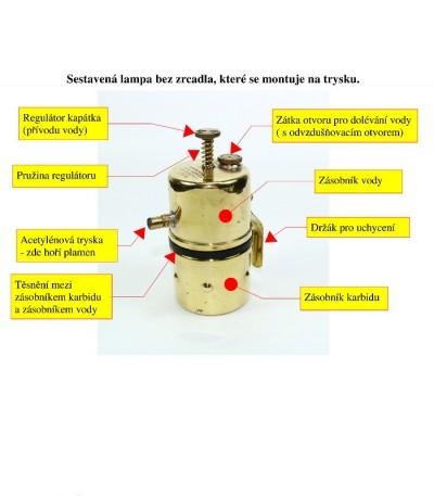 acetylenová lampa - popis náhradních dílů, i tryska