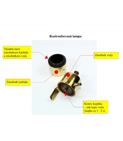 karbidka hrníčková 115C - popis náhradních částí, i kapátko