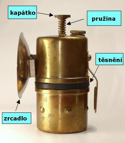 karbidová svítilna hrníčková 115C - náhradní díly, i kapátko