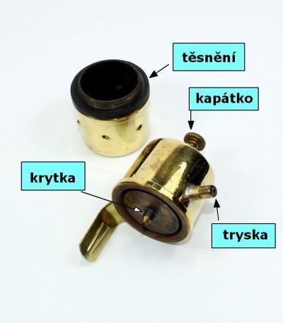 karbidka lampa - popis náhradních součástek včetně těsnění
