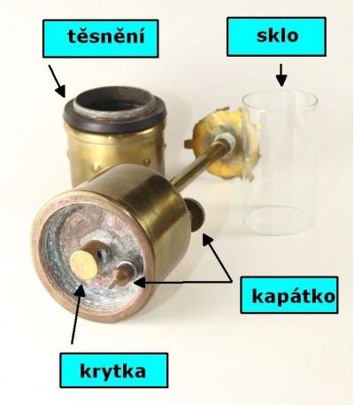 karbidová svítilna - díly včetně těsnění